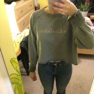AERIE CROPPED DISTRESSED SAGE GREEN CREW NECK